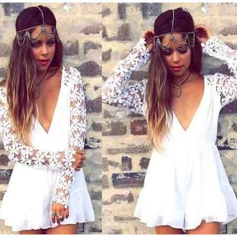 New White Lace Embellished Deep V Playsuit now available at Ruby Liu! ♥ http://rubyliuboutique.com/collections/lace