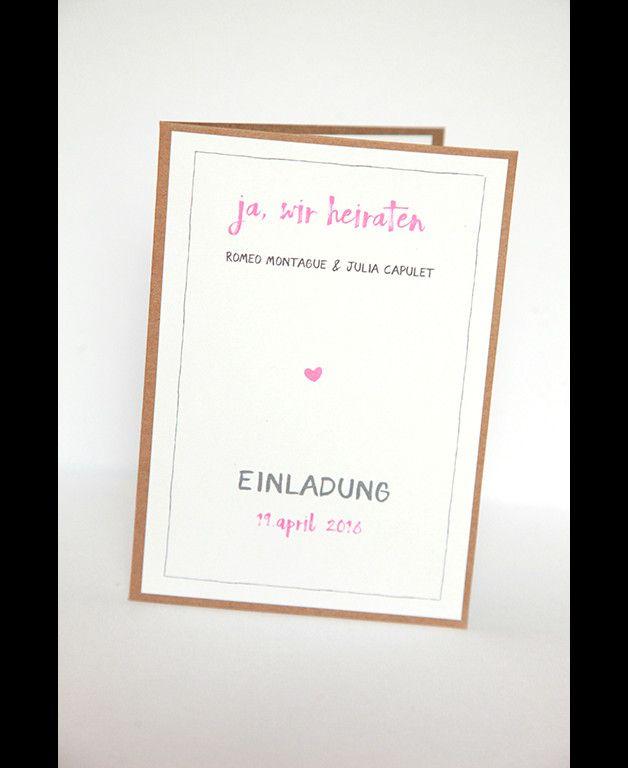 **10er Einladungs- oder Danksagungskarten-Set für Deine Hochzeit**  **Das Set besteht aus:**  - 10 unbedruckten Kraftpapier Klappkarten in der Größe A6   (auf Anfrage auch in anderen...