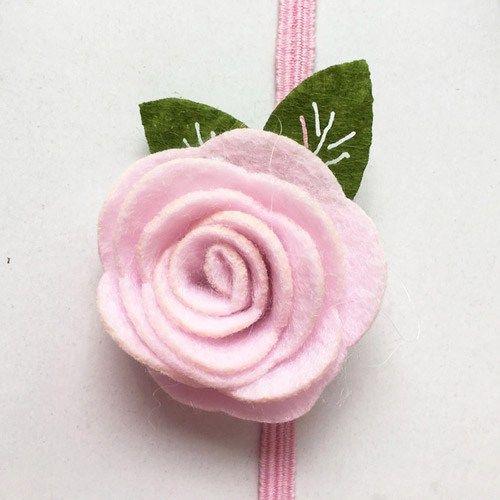 Κορδέλα μαλλιών ροζ με λουλούδι από τσόχα