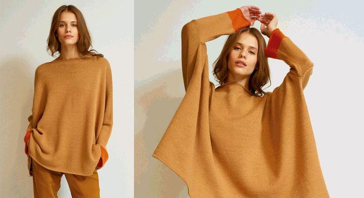 Ce modèle taillé très large est est cool et chic. Il est composé de rectangles tricotés au point jersey, avec une bande de couleur contrastée aux poignets. Tailles (spéciales pour ce modèle) ...