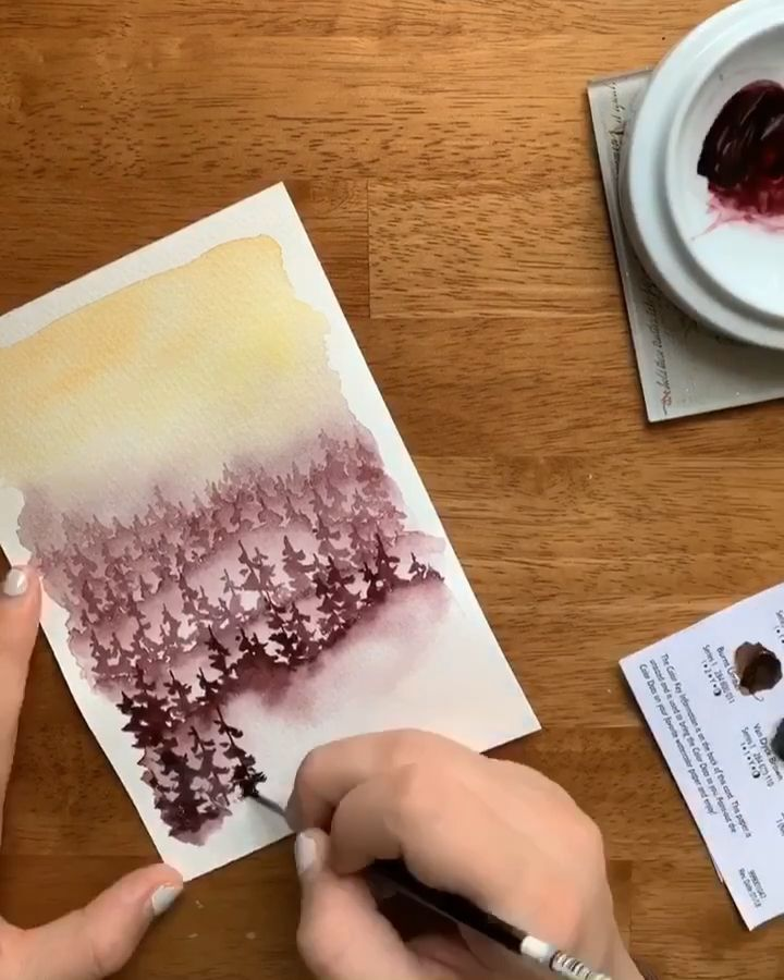 Watercolor forest sunset