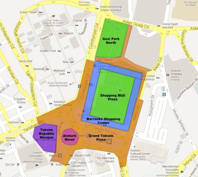 Map of Taksim Square proposed renovation project. The blue square is the Ottoman barracks. The purple shape represents the location of a proposed mosque. See http://urbanlifesigns.blogspot.com/2013/06/you-may-have-heard-in-news-over-past.html