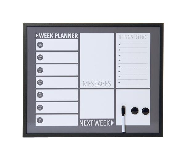 Memo -& white board  Weekplanner  metal  55 x 45cm. W. 2 magnets & marker. € 32,50