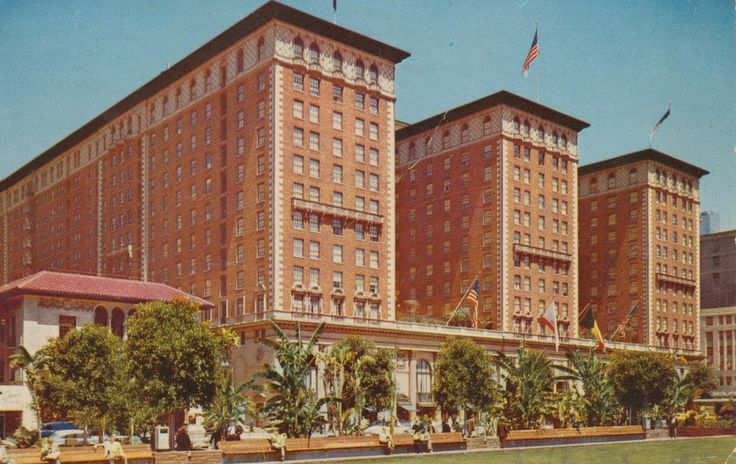 Biltmore Hotel - Los Angeles, California | Los Angeles 13, California The largest hotel in western America. 1500 Rooms. Situated between two tropical parks in heart of business district. Home of the Biltmore Bowl, world-famous Supper Club. Underneath the lawn is foreground is Pershing square garage with capacity for 2000 cars.  Mailed from  Los Angeles 20, California to Miss Rose Weinmann of National Standard Co. of Niles, Michigan on April 3, 1957:  Wed. A.M. Dear Ros