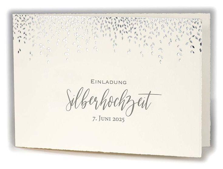 silberhochzeit-einladung als büttenkarte pure cotton mit