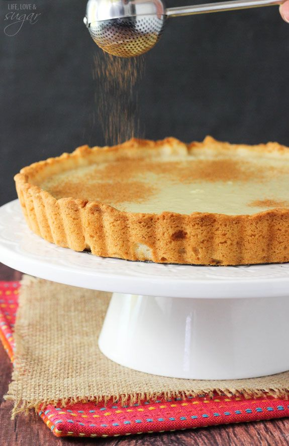 Milk Tart - a traditional South African dessert! Also called Melktert! With flavors of vanilla and cinnamon - so good!