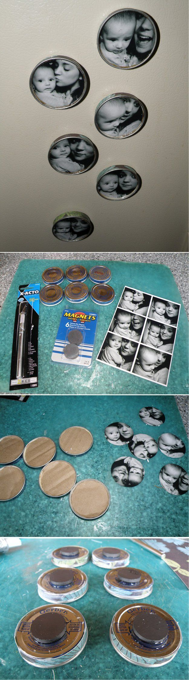 Picture Magnets - 23 Clever DIY Uses of Baby Food Jars | Upcycle And Repurpose Ideas at http://diyready.com/diy-uses-of-baby-food-jars/