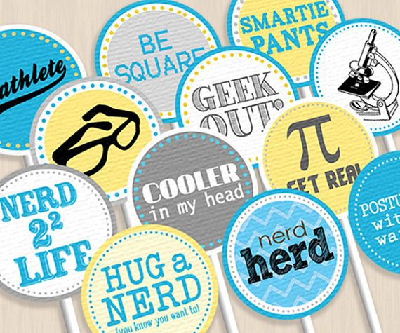 NERD Party Circles & Cupcake Toppers. $5.00, via Etsy.