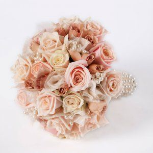 Love the antique pink roses...with a little bling!