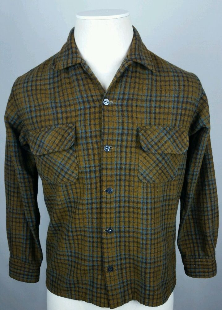 Vintage 60's PENNEY'S TOWNCRAFT Mens S or M 15 Wool Plaid Loop-Collar Shirt  #VintageHipsterRetro