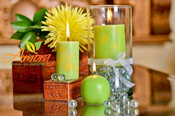 Velas aromatizadas con deliciosa fragancia a frutos verdes.