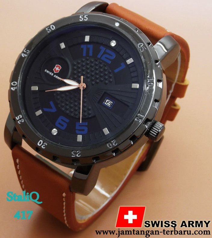 SWISS ARMY LEATHER 37 BROWN LIST BLUE - Jam Tangan Terbaru | Jam Tangan Keren