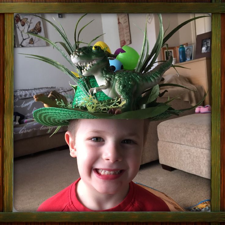 Josh wearing his Dinosaur Easter Bonnet