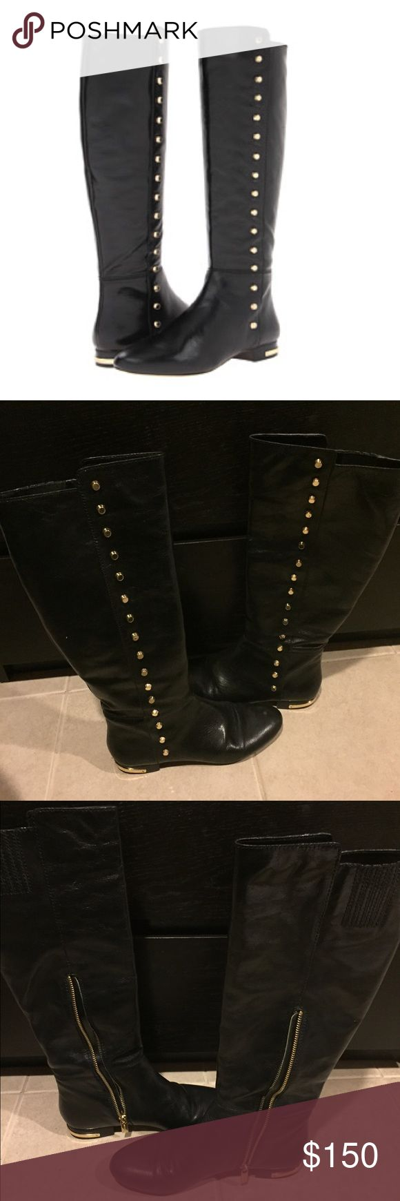 """Studded MK boots Studded MK boots.. hits a little below the knee so I wouldn't exactly call these """"knee high boots"""" ..some minor scuffs in front of boots but can be fixed with some black shoe polish. some minor scratches on gold hardware (studs) and the gold hardware on the heel came loose (as shown in last picture). rarely wore these boots, that's why I'm selling but still in good condition. I have original box but might not be able to ship in box due to size .. paid $295 plus tax .. open…"""