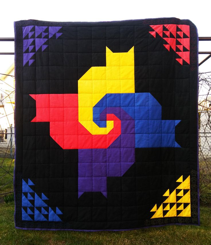 Patchwork, Handmade Quilt, Cat pattern, Quilted cat paws, Cat lady blanket, Black quilt, Halloween quilt, 180x210cm/70'x82' - 100% cotton by PaczMondu on Etsy