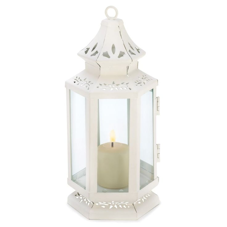 Small Victorian Candle Lantern, White (Glass)