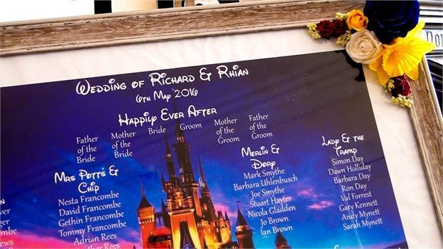 This Disney table plan is a wonderful way to inject some magic into your reception! Image from Moxie Films