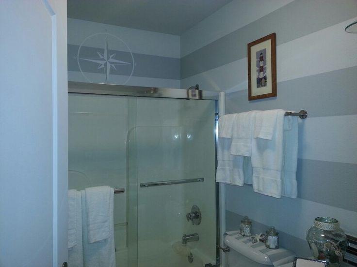 Gray and white Nautical bathroom