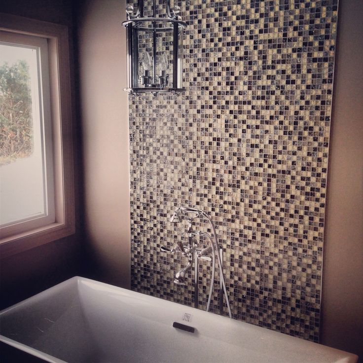 Feature Wall Behind This Freestanding Bathtub The Mosaic