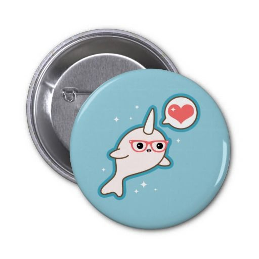 Super cute baby albino narwhal with nerd glasses and love heart!