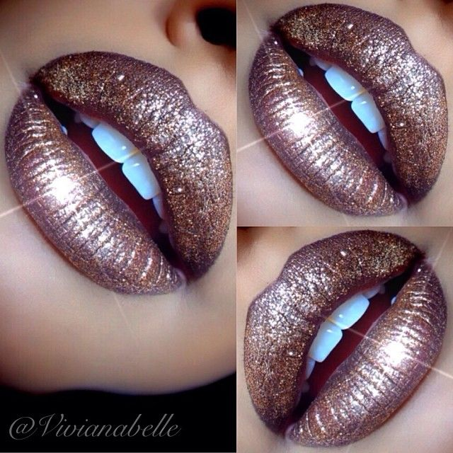 Glitzy Glam Lip Created with Mac's Lord It Up and Gold Glitter