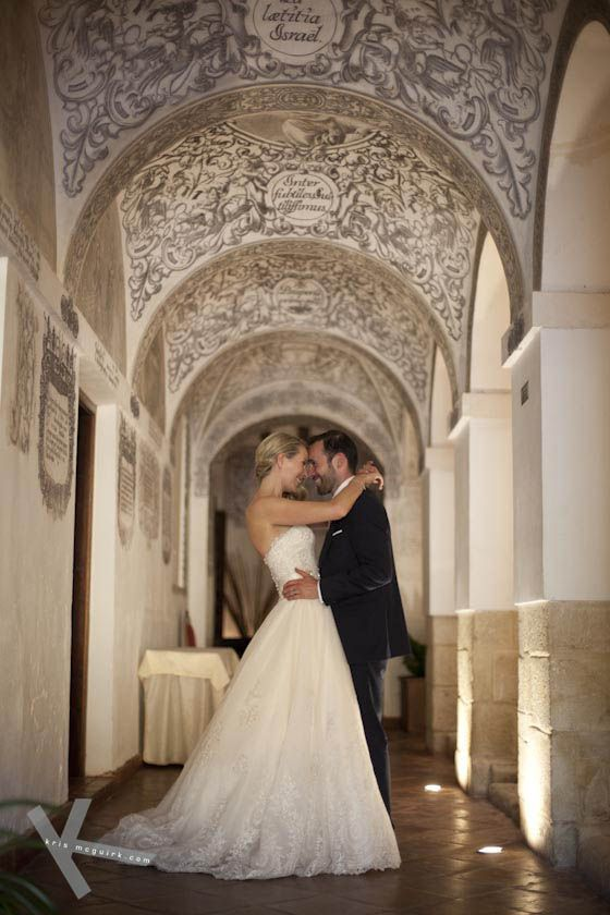 decorated ceiling and arches at Hotel Convento La Magdalena n Antequera, Malaga.What fun was to shoot this wedding. What a setting!