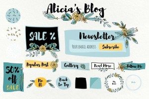 GIRLY BLOG KIT ELEMENTS TURQUOISE BUNDLE - http://freepicvector.com/girly-blog-kit-elements-turquoise-bundle/
