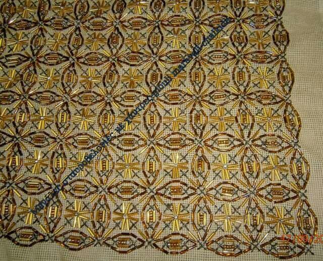 Κέντημα με χάντρες,αντιγραφο απο Ιερατικό Βυζαντινό ένδυμα.