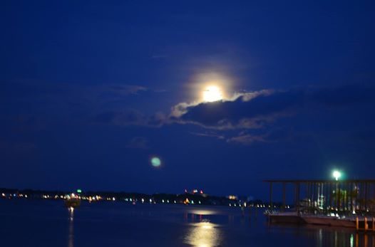 Beautiful Super Moon tonight over Grand Lagoon, Panama City Beach. August 2014