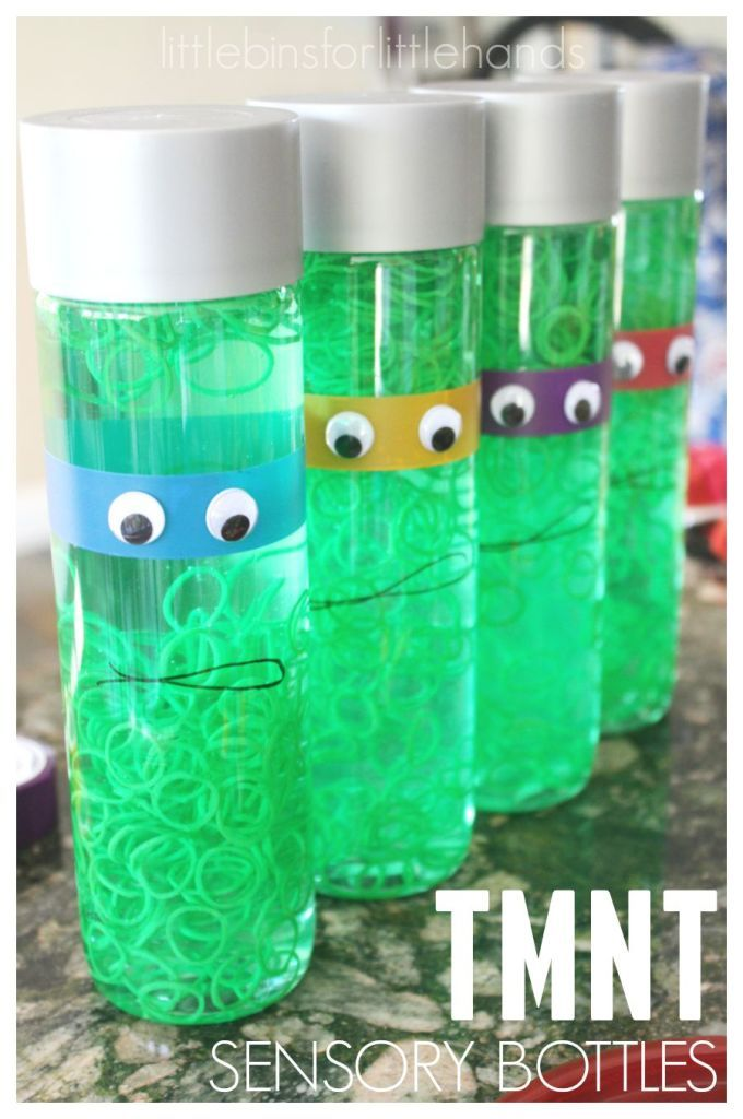 Create your favorite Teenage Mutant Ninja Turtle sensory bottle! A simple TMNT activity for all ages. Perfect room decor or sensory calm down bottle too!
