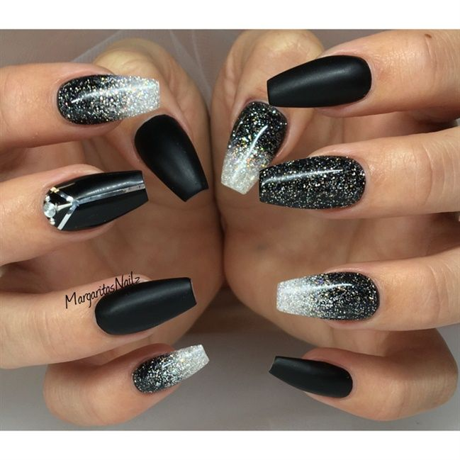 Black Matte And Glitter Ombré Nails