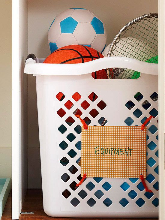 Easy and cheap storage Basket to store sports equipment