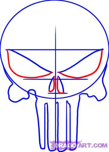 how to draw the punisher skull step 3