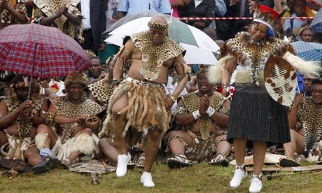 President Jacob Zuma and his bride partake of a traditional dance at the wedding ceremonies.