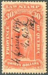 Issue de la seconde émission de timbres de loi pour la Belle Province de Québec.