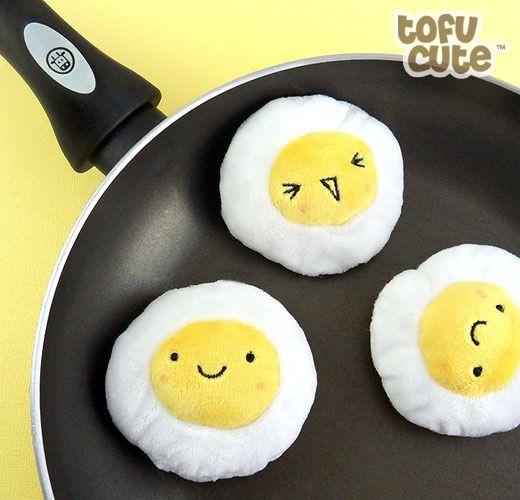 Buy Kawaii Fried Egg Mini Plush Keychain at Tofu Cute