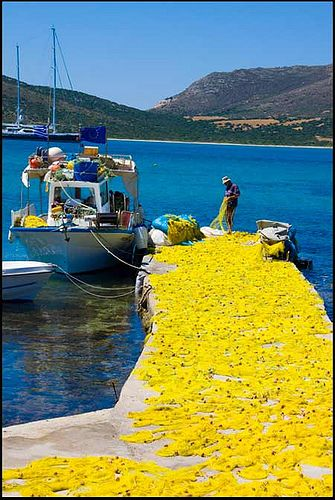 Mending Nets on Antiparos, The Greek Islands. by Jeanette Lowe (fishflix), via Flickr
