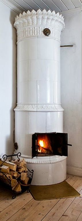 Traditional Scandinavian Fireplace ...and that floor!