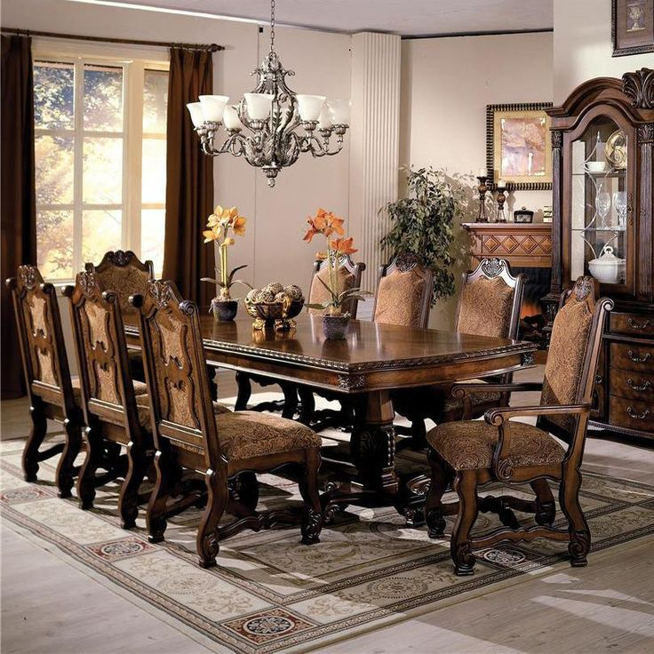 Neo Renaissance 9 Piece Traditional Dining: Neo Renaissance 9 PC Dining By Crown Mark