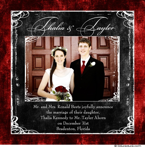 Charcoal & Red Photo Wedding Announcement