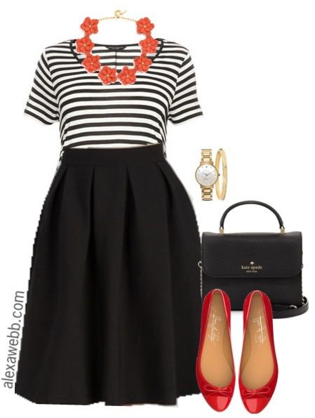 This simple plus size outfit can be worn for work or play!  I love the pops of red against the black & white stripes.  And all of these pieces are really versatile. Shop the look:  Necklace // Plus Size Striped Tee // Plus Size Skirt // Watch // Bracelet // Handbag // Flats Shop More Plus… Read More
