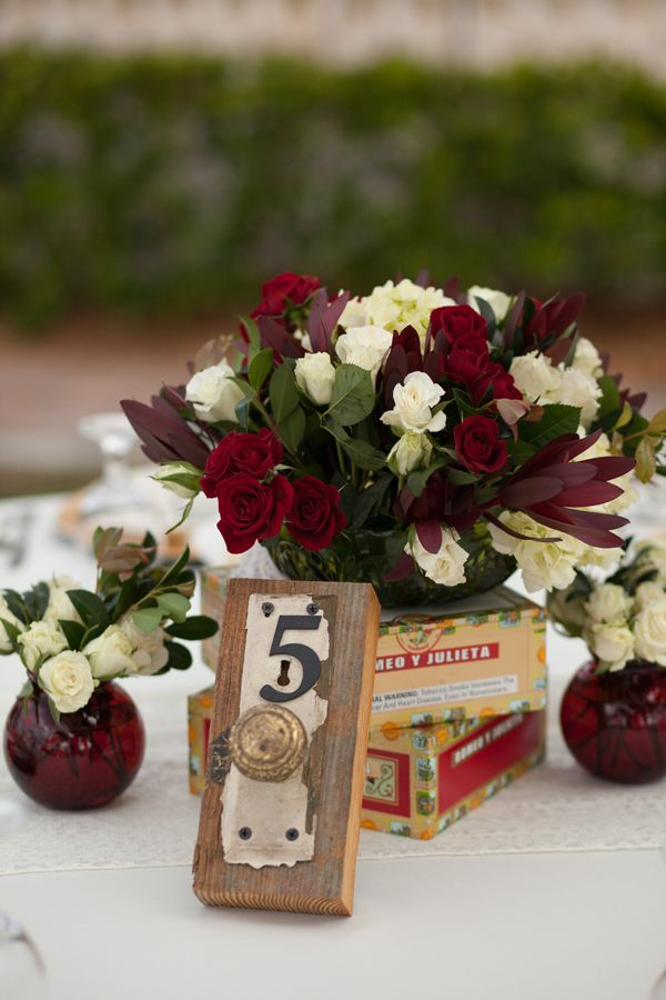 Wood Outdoor Rustic Wedding Centerpieces - Vintage Pomegranate & Lime Waterfront Tampa Wedding - Esther Louise Photography