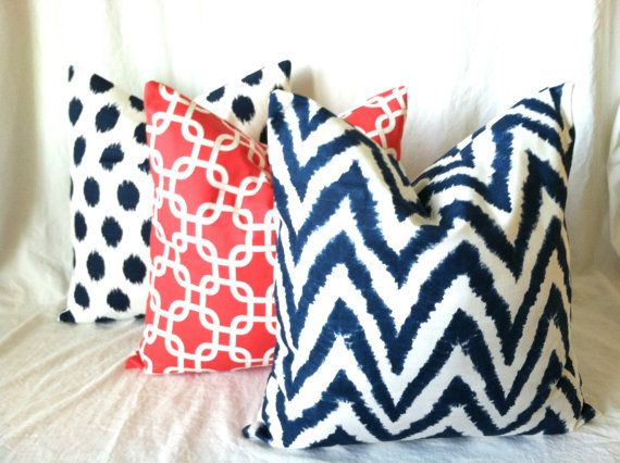 Check out this Coral & Navy Euro Sham Pillow Cover set! Navy Coral Euro Pillow Covers. 24 x 24. Set of by PillowStyles, $66.00