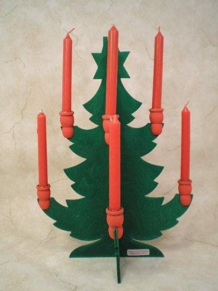 Sweden Wood Christmas Tree Swedish Candle Holder Candelabra w/Candles | eBay
