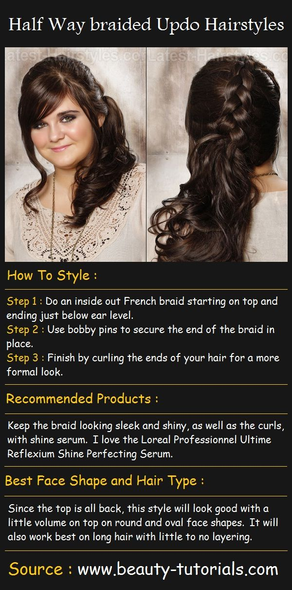 Half Way Braided Updo Hairstyles Beauty Tutorials