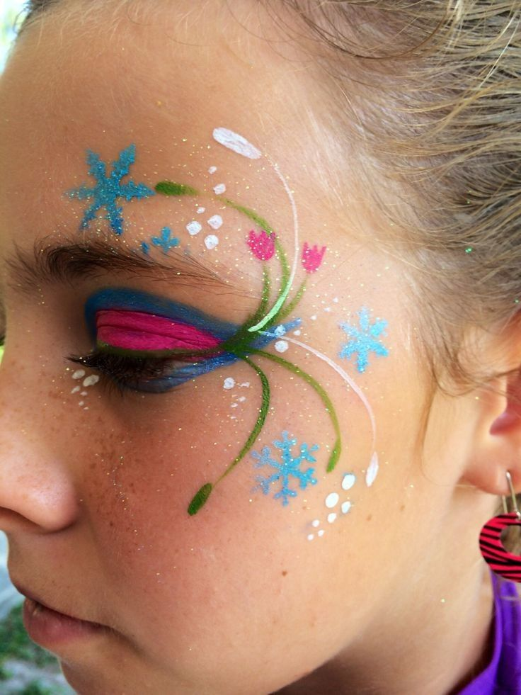 Frozen Anna Halloween face paint ideas 2014 - flower, snowflake #2014 #Halloween