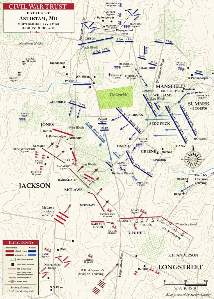 american civil war maps see more 17 september 1862 the west woods 900 to noon