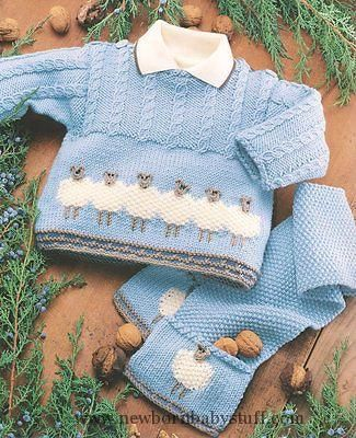 Baby Knitting Patterns Baby Sheep Sweater Jacket Scarf & Hat 0 - 2 years DK Kni...