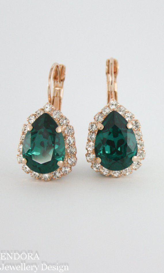 486c20ddd Emerald green earrings,Swarovski emerald earrings,green crystal earrings,crystal  earrings,emerald we
