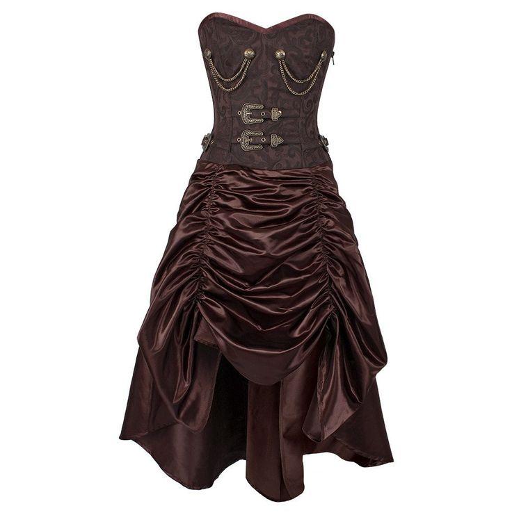 Trennen Steampunk Corset Dress Spiral Steel Boned Coffee Brocade & Satin…